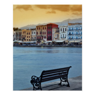 Chania at dusk Chania Crete Greece Poster