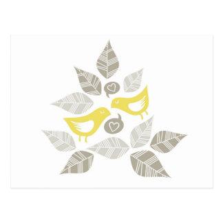 chant jaune d'oiseaux de l'amour cartes postales