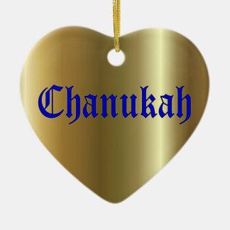Chanukah Blue Golden Heart Ornament