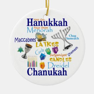 Chanukah Collage/Light the Lights Round Ceramic Ornament