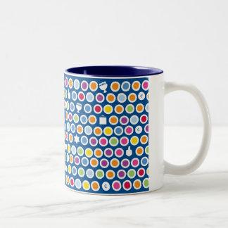 chanukah dots Two-Tone coffee mug