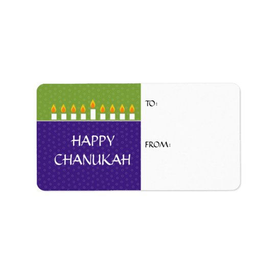 Chanukah Menorah Gift Label