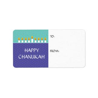 Chanukah Menorah Gift Label