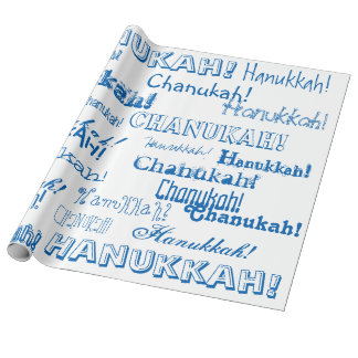 Chanukah O' Hannukah Blue and White Wrapping Paper