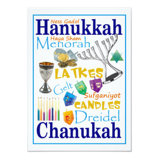 Chanukah Words Collage Card
