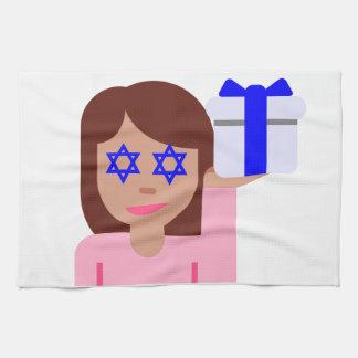 chanukkah hair flip emoji kitchen towel