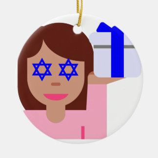 chanukkah hair flip emoji round ceramic ornament