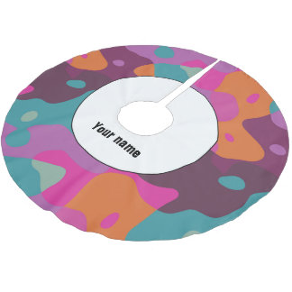 Chaos in retro colors brushed polyester tree skirt