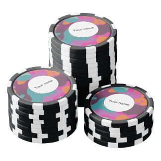 Chaos in retro colors poker chip set
