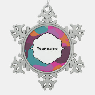 Chaos in retro colors snowflake pewter christmas ornament