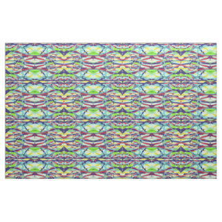 Chaos into Form Abstract Art Patterned Fabric Blue