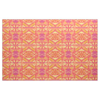 Chaos into Form Abstract Art Patterned Fabric Pink
