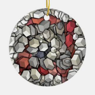 Chaotic 3D Cubes Ceramic Ornament