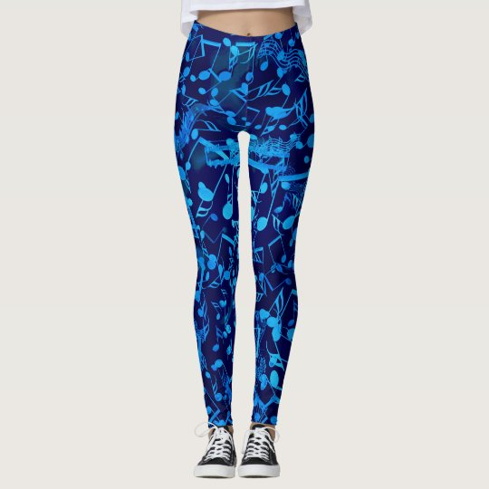 Chaotic Blues Music Notes Leggings