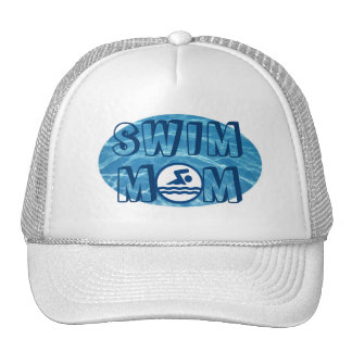 Chapeau bleu de maman de bain de l'eau de piscine casquettes
