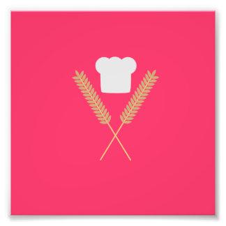 chapeau de chef de boulanger avec du blé photo d'art