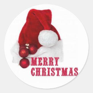 Chapeau de Joyeux Noël Sticker Rond