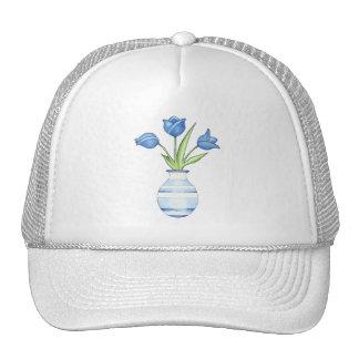 Chapeau de tulipes bleues casquette de camionneur