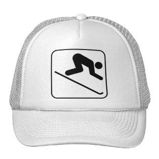 Chapeau incliné de symbole de ski casquettes de camionneur