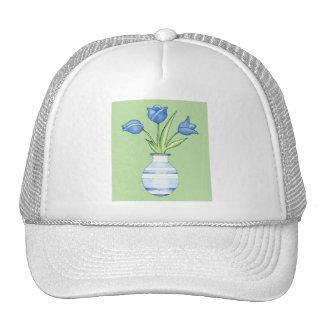 Chapeau vert de tulipes bleues casquettes