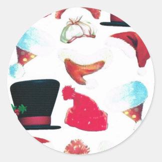 Chapeaux de Noël Sticker Rond