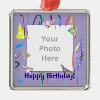 Chapeaux de partie de joyeux anniversaire (cadre ornement carré argenté
