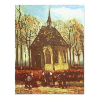 "Chapel at Nuenen, Churchgoers by Vincent van Gogh 4.25"" X 5.5"" Invitation Card"