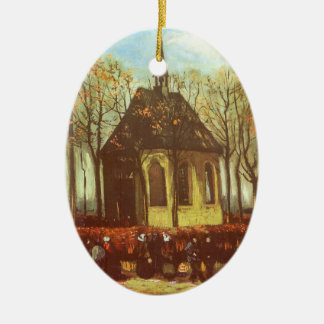 Chapel at Nuenen, Churchgoers by Vincent van Gogh Ceramic Oval Ornament