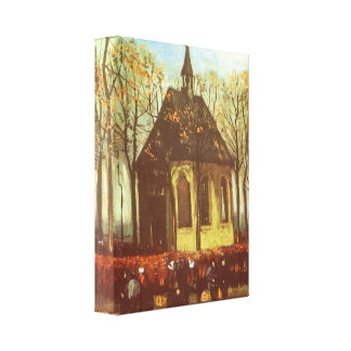 Chapel at Nuenen w Churchgoers by Vincent van Gogh Canvas Print
