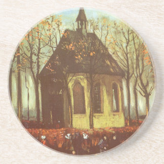 Chapel at Nuenen w Churchgoers by Vincent van Gogh Drink Coasters