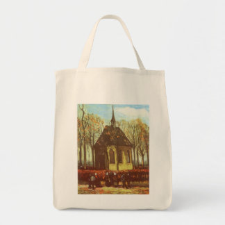 Chapel at Nuenen w Churchgoers by Vincent van Gogh Grocery Tote Bag