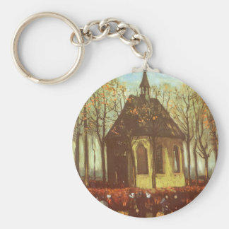 Chapel at Nuenen w Churchgoers by Vincent van Gogh Basic Round Button Keychain