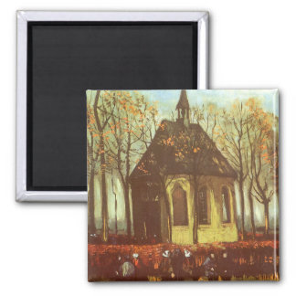 Chapel at Nuenen w Churchgoers by Vincent van Gogh Square Magnet