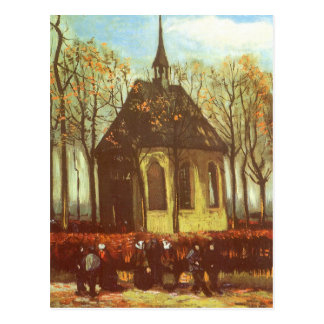 Chapel at Nuenen w Churchgoers by Vincent van Gogh Postcard
