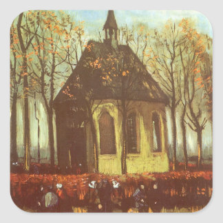 Chapel at Nuenen w Churchgoers by Vincent van Gogh Square Sticker