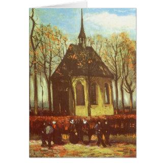 Chapel at Nuenen w Churchgoers, van Gogh Christmas Greeting Card