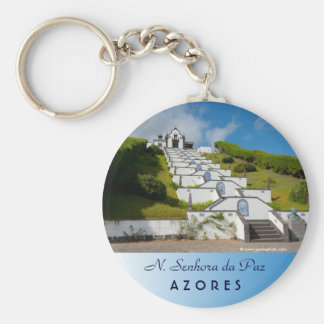 Chapel in Azores islands Basic Round Button Keychain
