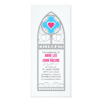 Chapel Stained Glass Tea Length Wedding Invitation