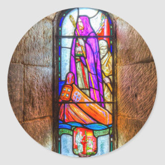 Chapel Stained Glass Window Classic Round Sticker