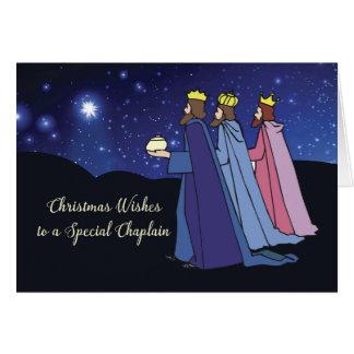Chaplain Christmas Wishes Three Kings at Night Card