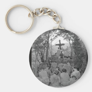 Chaplain Kenny Lynch conducts_War Image Basic Round Button Keychain