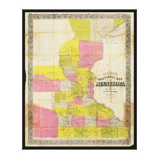 Chapman's New Sectional Map of Minnesota (1856) Canvas Print