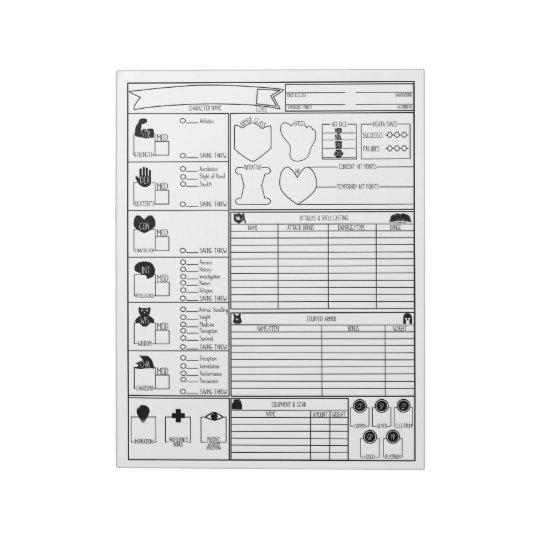 Character Sheets Notepad