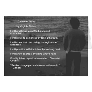 """""""Character Traits"""" affirmation note card (blank)"""