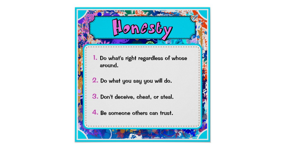 Character Traits Posters, Honesty - 2 of 6 Poster | Zazzle
