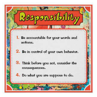 Character Traits Posters, Responsibility - 6 of 6 Poster