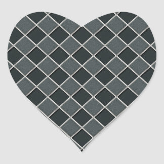 Charcoal 3D Checkers Heart Stickers
