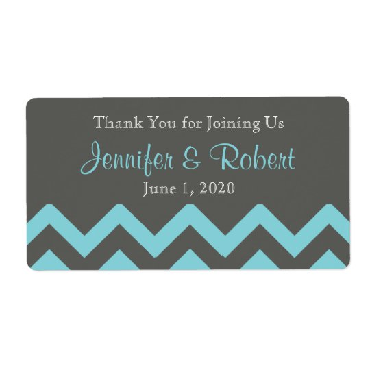Charcoal and Aqua Chevron Posh Water Bottle Label Shipping Label