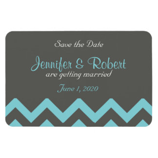 Charcoal and Aqua Chevron Wedding Save the Date Rectangular Photo Magnet