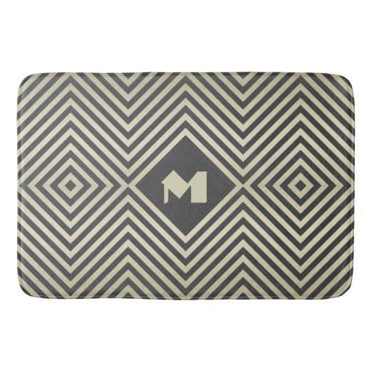 Charcoal and Beige Diamond Monogram Bathroom Mat